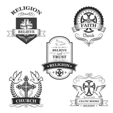 the christian religion: Church sign set. Christian religion symbol of cross on heraldic shield with flying dove bird, ribbon banner and laurel wreath. Easter holidays badge, church emblem design