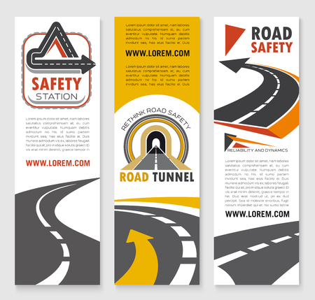 Road construction service vector banner set for safety of highways and tunnels, motorways and tunnels building company. Expressway drives, transport routes and traffic reliability technology