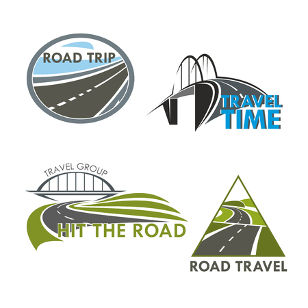 Travel time and road trip vector icons of highway, motorway lane or expressway drive bridge. Isolated emblems set for tourism or driveway construction, building industry or service company