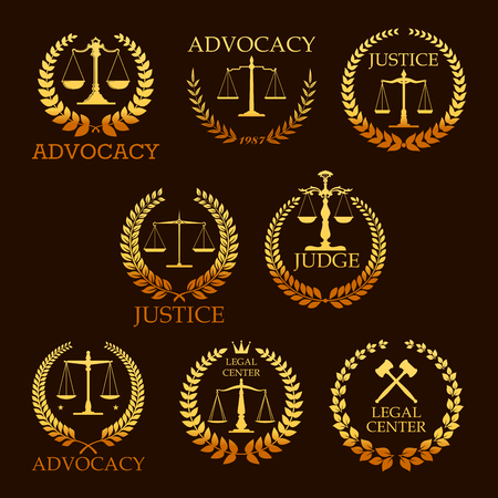 Justice and advocacy vector gold icons. Heraldic emblems of law scales and judge gavel, laurel wreath. Golden signs for legal center, advocate or court lawyer and judicial right attorney Stock Illustratie