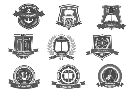 大学およびアカデミーのベクトルのアイコン。エンブレムや盾海事科学、音楽、法律で高校の教育卒業生の設定。リボンと学士帽子、月桂冠、本、