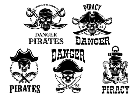 Pirate and Jolly Roger vector icons of captain skull in tricorne hat and eyepatch or bandana. Piracy sailor or robber symbols or emblems of swords, sabers and pistol guns, ship anchor and chains