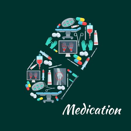 chirurgo: manifesto farmaco di simbolo pillola e strumenti di medicina. Vector terapia sanitaria pillole, siringhe e bisturi, x-ray e contagocce sangue. Ospedale chirurgico tavolo operatorio o x-ray, stampella e chirurgo guanti