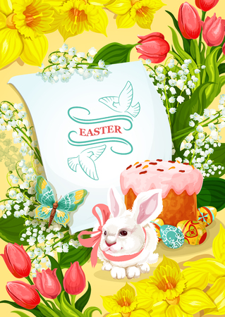 Easter holiday and Egg Hunt poster. Easter rabbit bunny, decorated egg and cake, surrounded by spring flowers of tulip, narcissus, lily of the valley with flying butterfly and paper greeting card