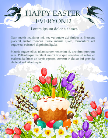Easter cake, egg and flower cartoon poster template. Easter painted egg and sweet bread with candle, decorated by tulip, lily and narcissus flowers, willow tree twig with blue spring sky on background Illustration