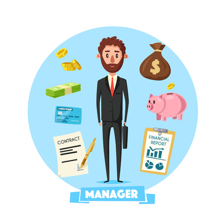 Manager or businessman with credit card or identity badge, contract sign and pen and finance report, salary banknotes and coins in money bag and piggy bank safeProffession concept