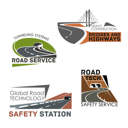 Highways and motorways vector icons of roads, tunnels and bridges building and construction or service company. Emblems set of expressway drives, transport routes safety technology Illustration