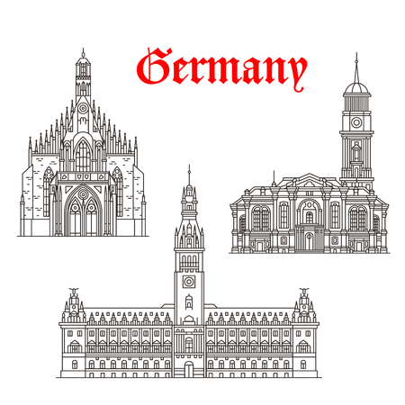 nuremberg: Germany architecture and German famous landmark buildings. Vector isolated icons and facades of Hamburg Town Hall or Rathaus, Frauenkirche or Our Lady and St Michaelis or Michael Church