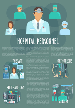 operation for: Hospital personnel and doctors vector poster for therapy , orthopedics prosthesis, rheumatology healthcare treatment and surgery operation instruments of medicine profession
