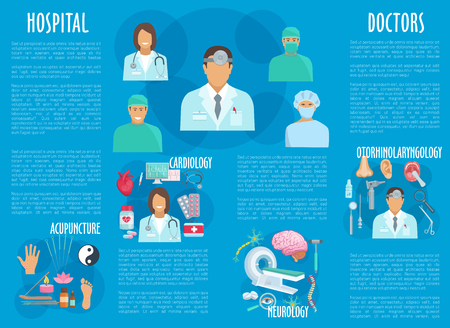 Hospital doctors and medical healthcare departments vector poster. Cardiology heart pills and stethoscope, otolaryngology otoscope and syringe, neurology mri scanner and acupuncture medicine