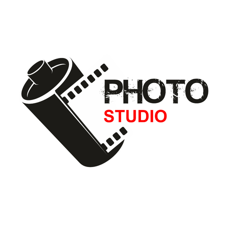 camera symbol: Camera photographic film vector icon of photo studio or photography school. Symbol or emblem of retro photograph film cartridge