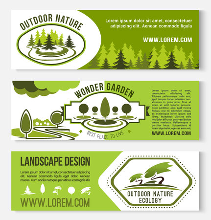 horticultural: Landscape design and nature gardening vector banners. Set of outdoor garden and forest forest for green horticulture service or house ecology park planting and village house construction company Illustration