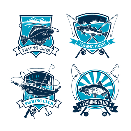 fishery: Fishing vector icons of fisher tackle and fish catch flounder or carp, navaga or sheatfish. Emblems or badges and ribbons set of fisherman rods and net, baits or lures and hooks for fishery sport trip