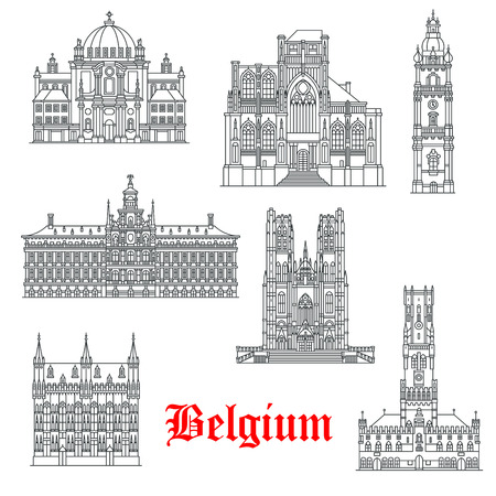 belfry: Belgium architecture and landmark buildings. Vector isolated icons and facades of St Christopher, Peter or Gudula church or Sint Pieterskirk, Mons Belfry or Bruges Town Hall and Antwerp City Hall