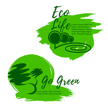 Go green vector icons for eco life and nature environment. Emblems of ecology park trees or forest and green city or urban outdoor eco village for landscape design or urban planting and gardening