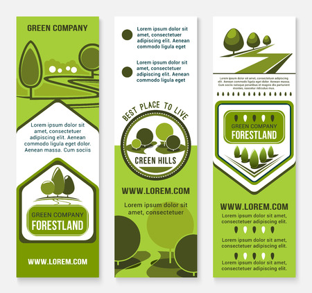 urban planning: Green landscape design or urban eco building company vector banners. Park trees or forestland village and woodland alleys for city horticulture planting and gardening service