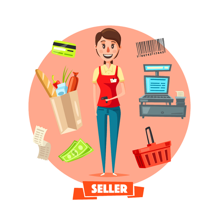 mujer en el supermercado: Shop seller or cashier profession with retail buy purchases on cash desk. Vector shopping cart, credit card, money banknotes and coins, vendor barcode for grocery store products and check receipt