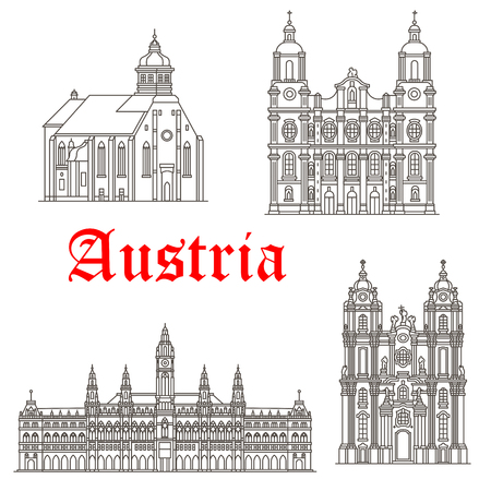 Austria historic architecture and Austrian famous buildings symbols. Vector isolated icons and facades of Graz and St James cathedral, Wiener Rathaus or Vienna town hall and Melk Abbey monastery Векторная Иллюстрация