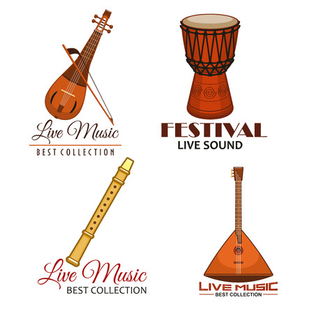 lute: Music festival icons or vector emblems of live concert. Musical instruments balalaika, flute or reed pipe, djembe or jembe goblet drum, lute and biwa or gadulka fiddle for ethnic or folk music fest