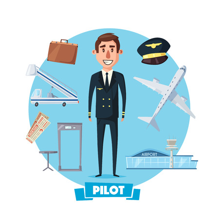 Pilot man in uniform and flight or airplane vector items. Aircraft crew profession character with captain hat, travel suitcase and tickets, airport passenger ladder and security check scanner