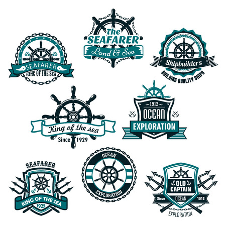 voyager: Nautical heraldic icons of marine ship anchor, trident and helm. Heraldry shields of sailor compass or lifebuoy and sea waves, ribbons and badges of seafarer or voyager and shipbuilder