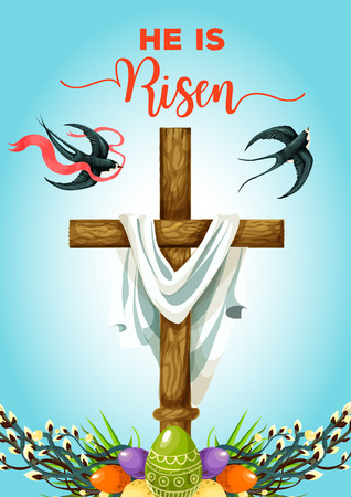Easter Sunday cross spring holidays greeting card. Wooden crucifix with Easter egg on green grass with willow tree twigs and flying swallow birds with red ribbon. He Is Risen cartoon poster design