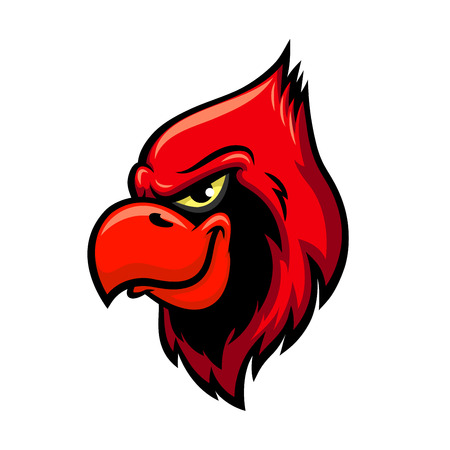 Cardinal bird vector icon. Isolated red bird head with crest and beak. Emblem for sport team mascot or blazon, gameplay cartoon character for entertainment computer game