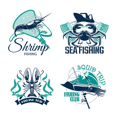 Sea fishing trip vector icons of crab, shrimp or prawn and squid. Emblems of fisher club with seafood catch and fishery tackle rods and fish net, baits or lure hooks and fisherman ships or boats Illustration