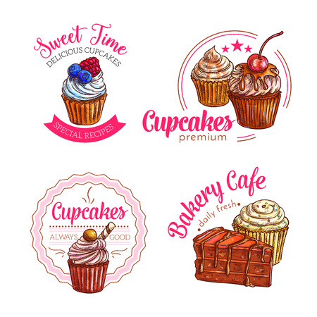 vanilla pudding: Cakes and cupcakes desserts vector bakery icons set of pastry cheesecake pie or chocolate brownie torte, biscuit cookie or patisserie muffin or pudding or donut or muffin, candy waffle or wafer emblem