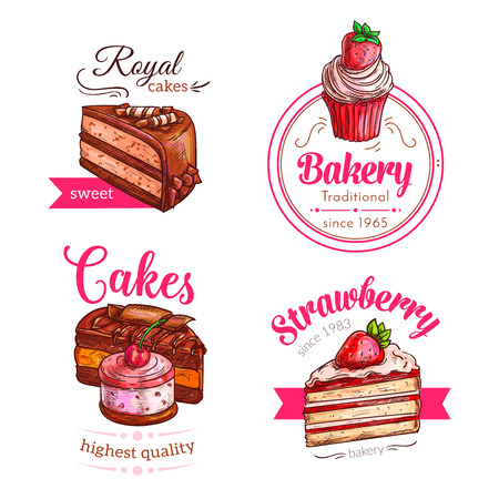 vanilla pudding: Patisserie dessert cakes vector icons. Cupcakes and bakery torte of strawberry cheesecake pie or chocolate brownie and fruit biscuit tart. Pastry raisin muffin and pudding or donut with muffin