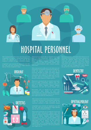 dietetics: Dentistry and ophthalmology medical personnel vector poster. Doctors of urology and healthcare hospital staff, medicines urogenital catheter syringe, eye glasses and tooth implant, diabetics pills