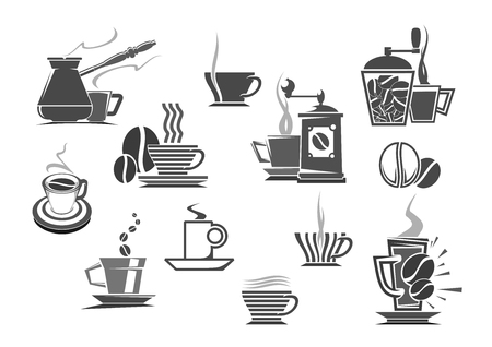 Coffee makers, mill grinders and brew pots vector icons of espresso or cappuccino cup, hot moka steam or cold frappe mug. Emblems of cezve jug and roasted coffee beans for cafe or cafeteria sign Illustration