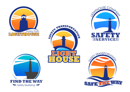 Lighthouse icons for safety seafaring company. Vector nautical or marine beacon lights set of isolated symbols for ship safe navigation and transportation