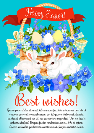 Happy Easter poster of eggs and spring flowers bunch in wicker basket.