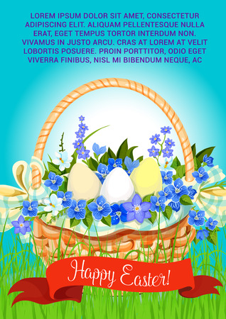 Easter poster of paschal eggs in wicker basket. Vector ribbon with Happy Easter greeting for religion holiday card template. Spring bouquet of crocuses, daffodils and lily tulips on grass meadow Illustration