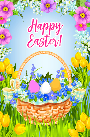 Happy Easter vector greeting card basket flowers