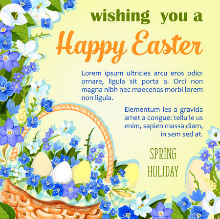 Easter egg poster paschal greeting vector template