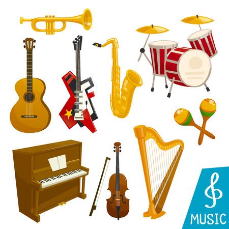 Instrumenty muzyczne wektorowe ikony na białym tle