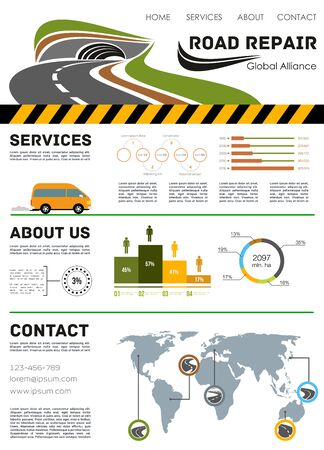 tunneling: Road construction service vector landing page