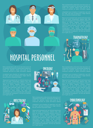 testicle: Hospital personnel vector poster template