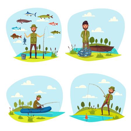 Fisher man fishing big fish catch