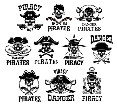 Pirate or Jolly Roger icons set Illustration