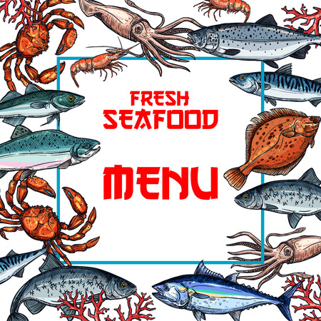 Seafood menu card or poster template