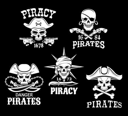 eyepatch: Jolly Roger pirate vector icons of captain skull in tricorne hat and eyepatch. Piracy symbols of robber sailor or filibuster swords, sabers and pistol guns, ship anchor or compass and chains
