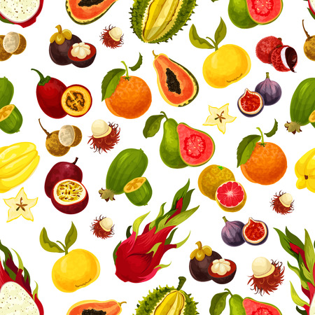 Exotic fresh fruits seamless pattern