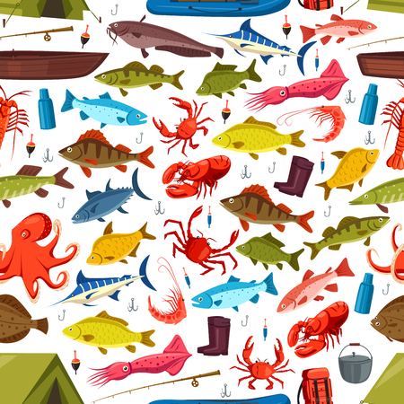 crucian: Fishing seamless pattern of fish and mollusks catch. Vector seafood crab, salmon trout and tuna or flounder on fishing rod. Shrimp prawn and squid, pike and perch on fisherman tackle hook and boat Illustration