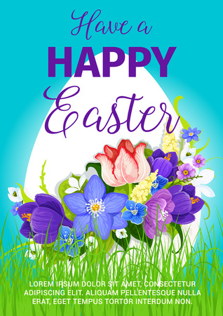 Easter greeting poster of paschal egg and spring flowers bow bunch on grass meadow. Vector bouquet crocuses, daffodils and lily tulips design template for Happy Easter religion holiday card
