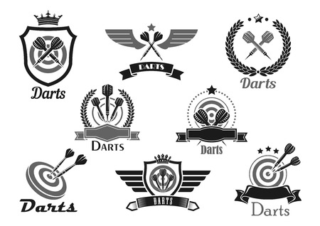 Darts club or contest vector icons set. Emblems for dart game competition and winner award of dartboard and arrows. victory cup and banner or heraldic wings and laurel wreath or crown with stars