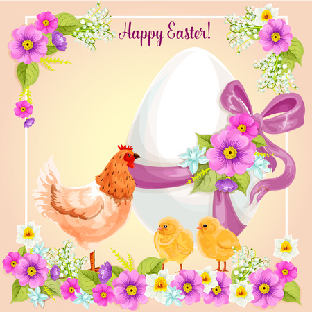 passover and easter chick: Easter greeting card of paschal egg with floral bow ribbon, chicken and chicks in spring flowers. Vector Easter greeting card design for Resurrection Sunday religion holiday