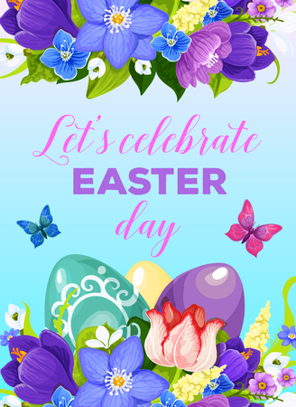 Easter greeting poster of paschal eggs and spring flowers bunch of crocuses, daffodils and tulips with butterfly. Vector design template for Happy Easter religion celebration holiday